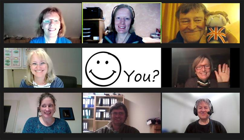 a screenshot on an online club meeting