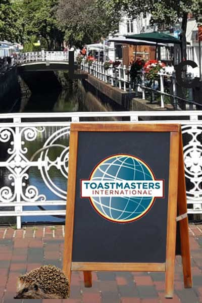 Pavement sign at the Fleth in Buxtehude advertising the Toastmasters Buxtehude